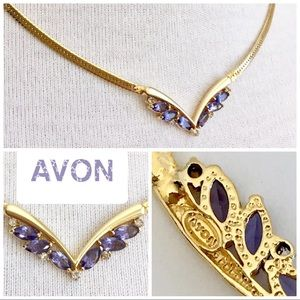 💕 AVON goldtone faux amethyst & diamond necklace